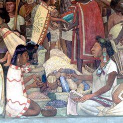 Detalle del mural Mercado Tlatelolco, de Diego Rivera